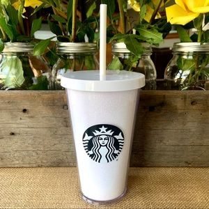 Starbucks•16-oz.Cold Cup•White Glitter/Black Siren